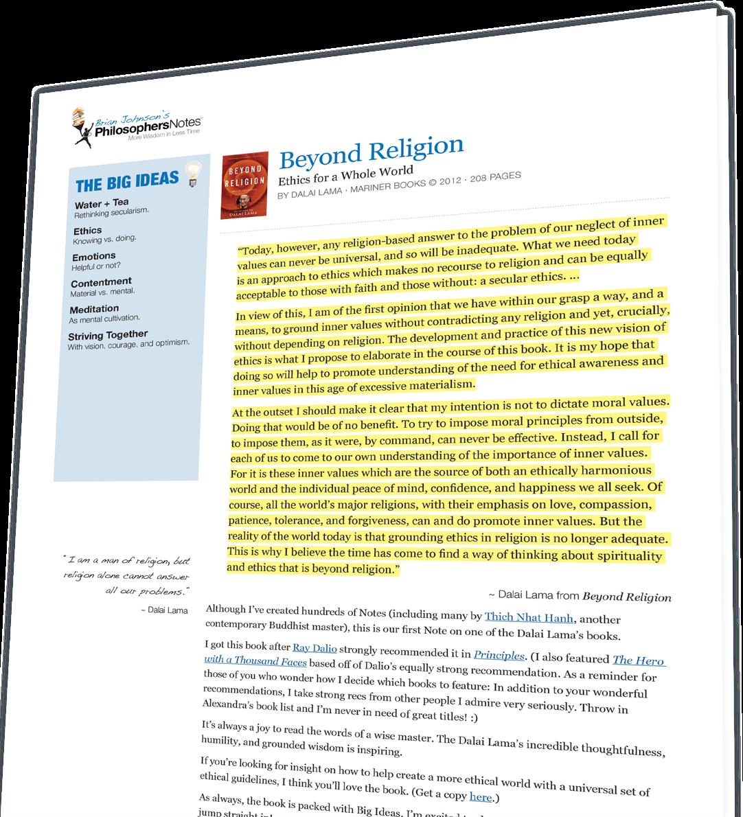Beyond Religion by Dalai Lama - PhilosophersNotes | Optimize