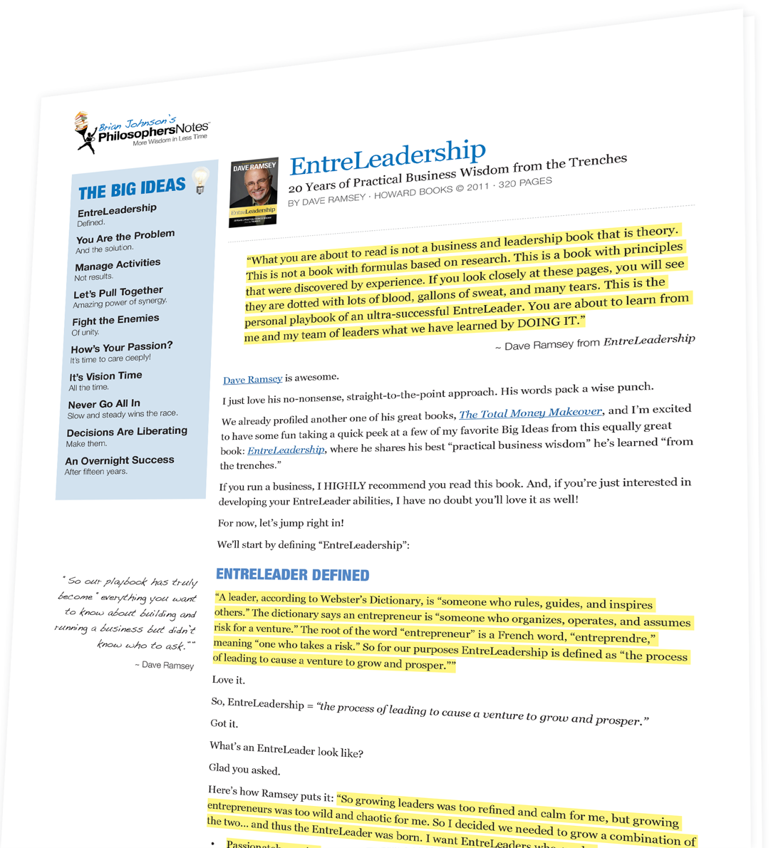 EntreLeadership by Dave Ramsey - PhilosophersNotes | Optimize