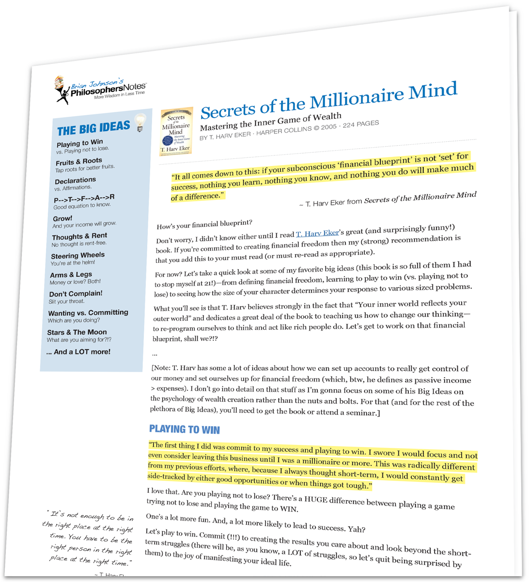 Secrets Of The Millionaire Mind By T Harv Eker Philosophersnotes