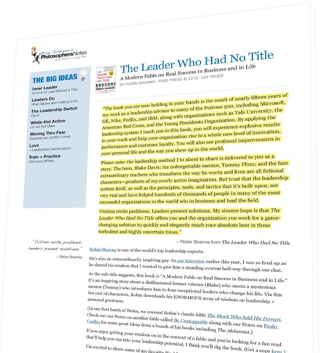 A leader title pdf without