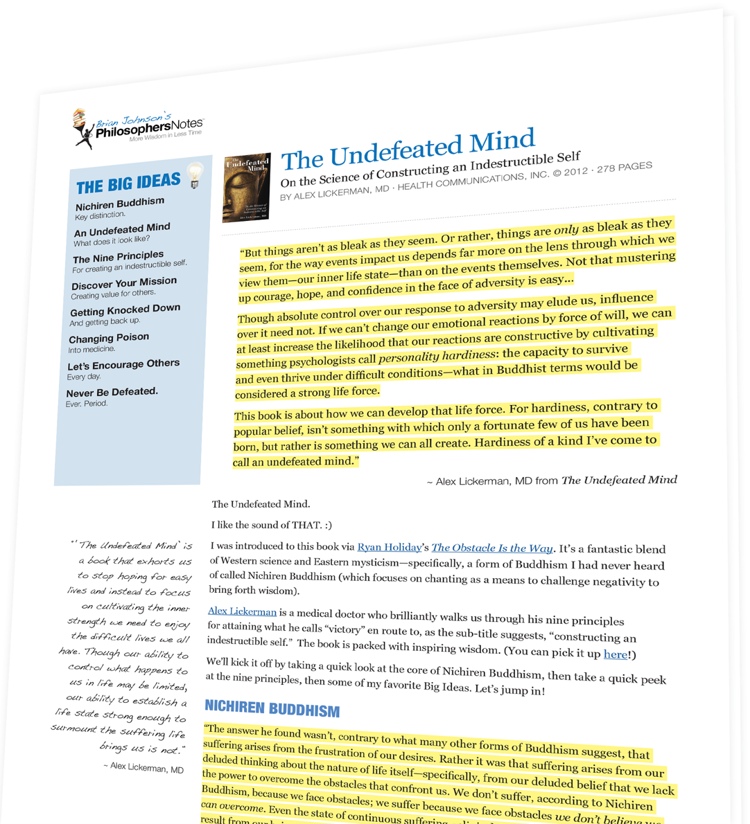 The Undefeated Mind by Alex Lickerman, M D  - PhilosophersNotes